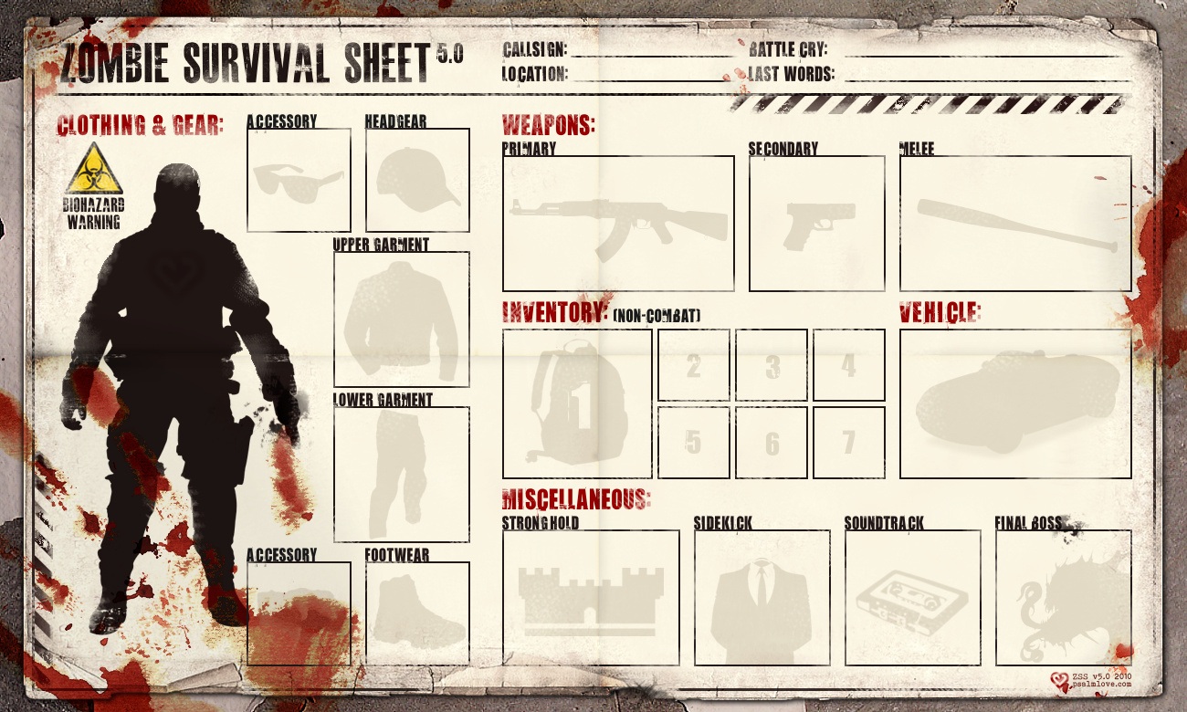 Zombie apocalypse survival sheet